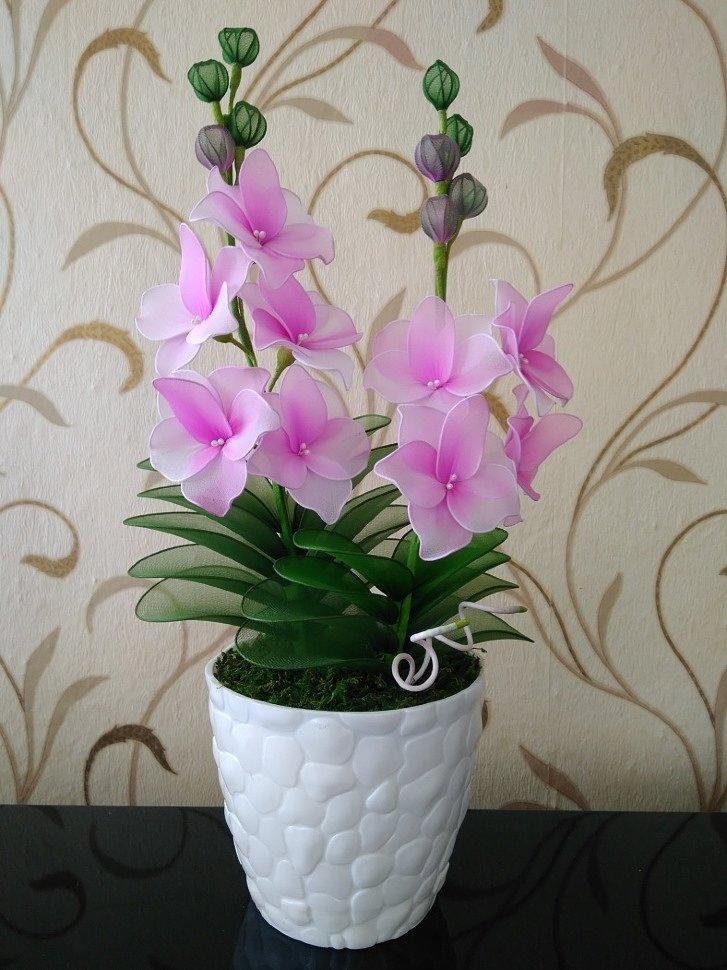 цветы из капрона орхидея дендробиум